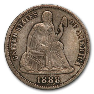 1888-S Liberty Seated Dime VF