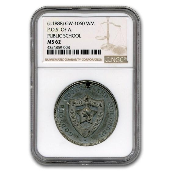(1888) Washington Public School Medal MS-62 NGC (White Metal)