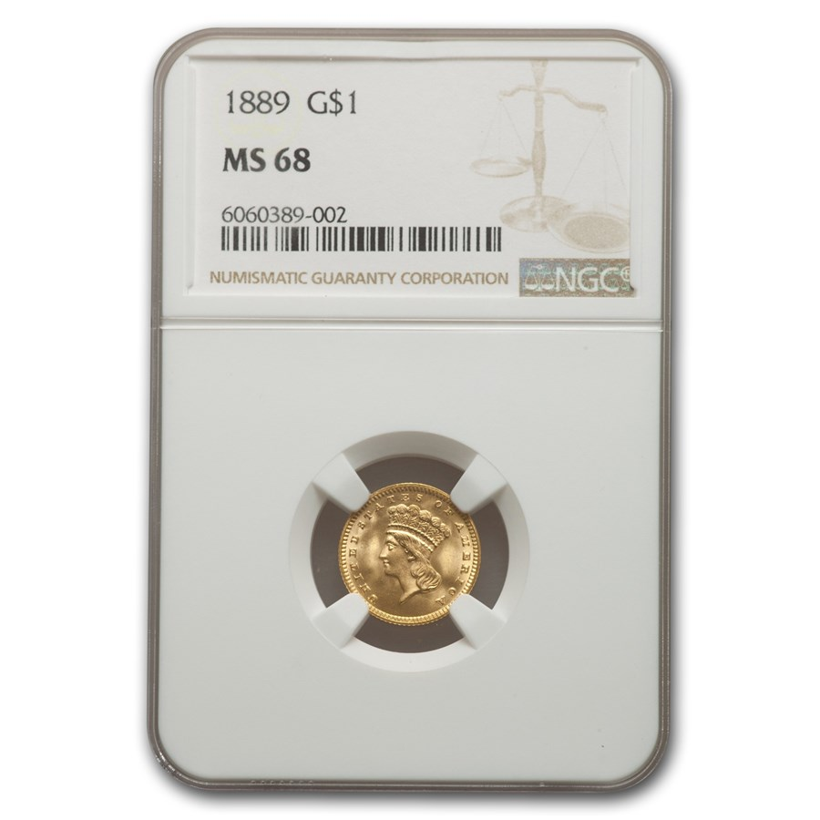 1889 $1 Indian Head Gold MS-68 NGC