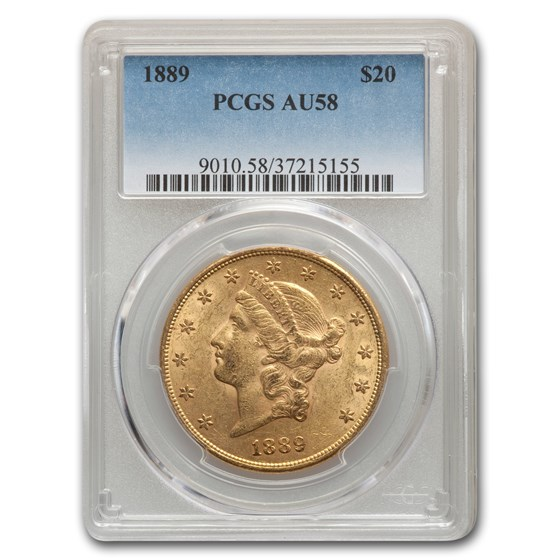 1889 $20 Liberty Gold Double Eagle AU-58 PCGS