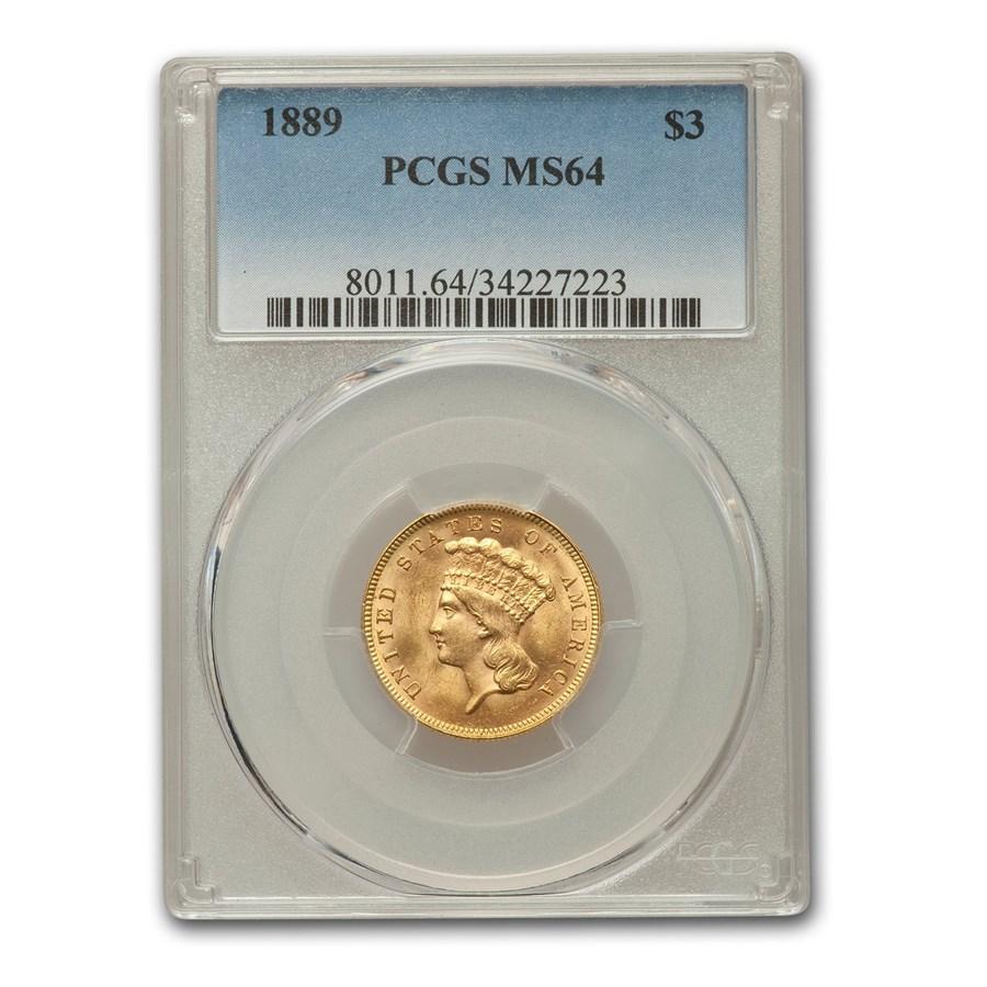 1889 $3 Gold Princess MS-64 PCGS