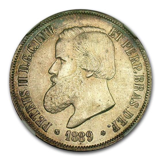 1889 Brazil Silver 2,000 Reis MS-62 by NGC