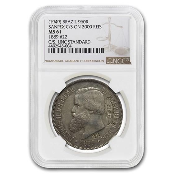 1889 Brazil Silver 2000 Reis MS-61 NGC (Counterstamped SANPEX)