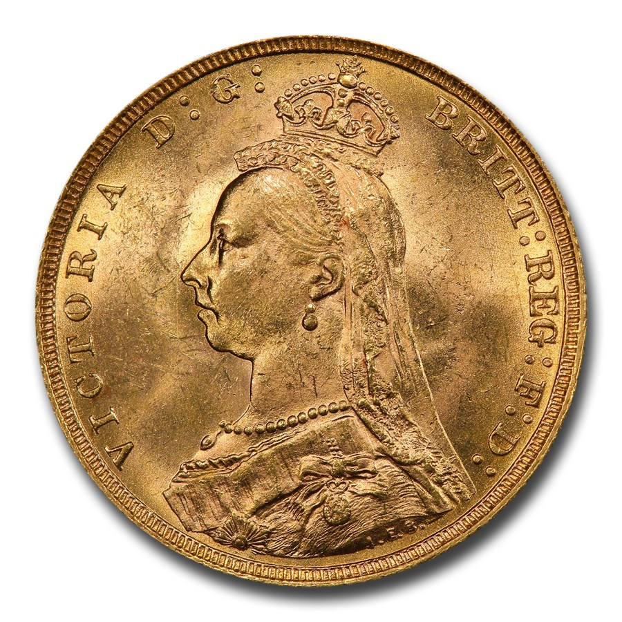 1889 Great Britain Gold Sovereign Victoria Veil MS-63 PCGS