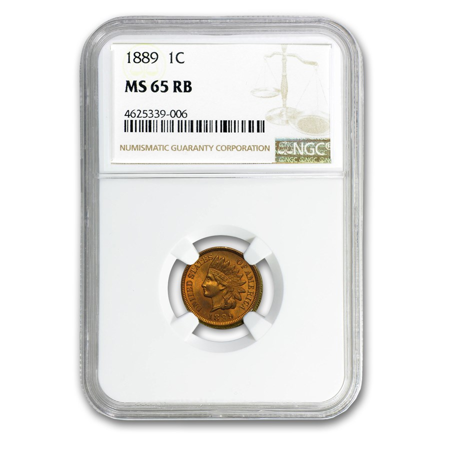1889 Indian Head Cent MS-65 NGC (Red/Brown)