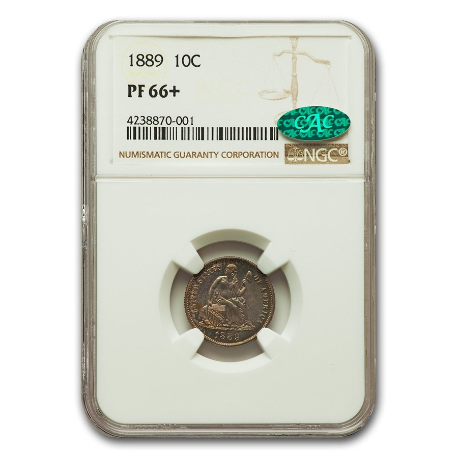 1889 Liberty Seated Dime PF-66+ NGC CAC
