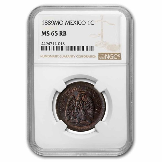 1889-Mo Mexico Centavo MS-65 NGC (Red/Brown)