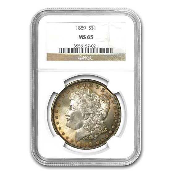 1889 Morgan Dollar MS-65 NGC (Blue, Purple & Gold Toning)