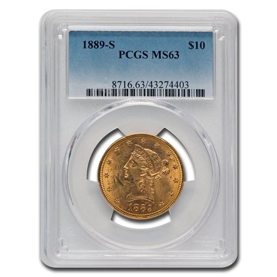 1889-S $10 Liberty Gold Eagle MS-63 PCGS