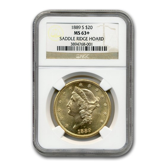 1889-S $20 Liberty Gold Double Eagle MS-63+ NGC (Saddle Ridge)