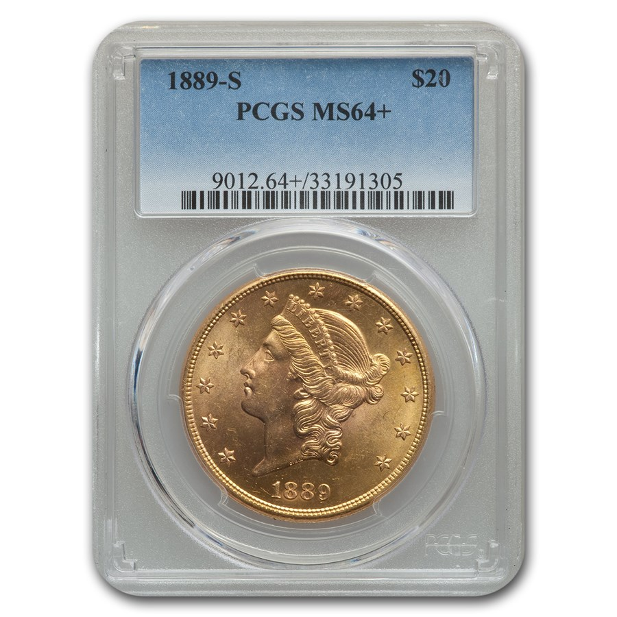1889-S $20 Liberty Gold Double Eagle MS-64+ PCGS
