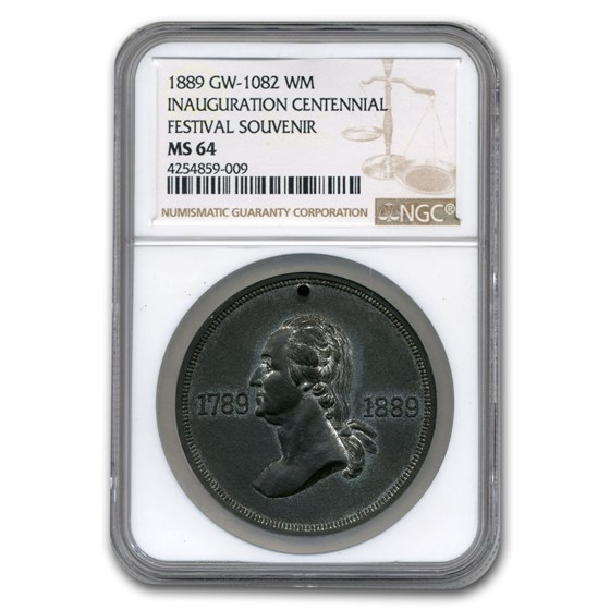 1889 Washington Inauguration Medal MS-64 NGC (White Metal)