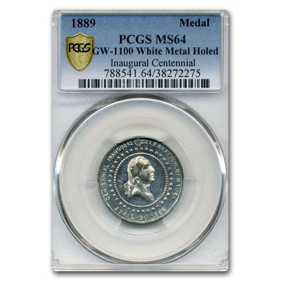1889 Washington Inauguration Medal MS-64 PCGS (White Metal)