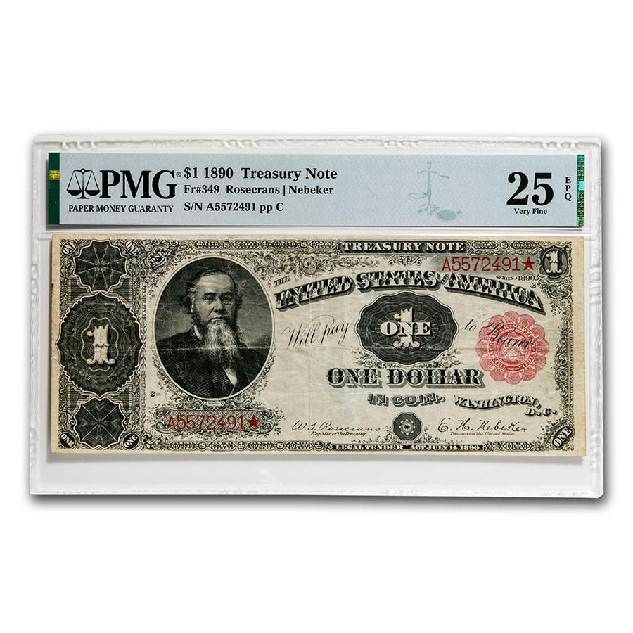 1890 $1.00 Treasury Note Stanton VF-25 EPQ PMG (Fr#349)