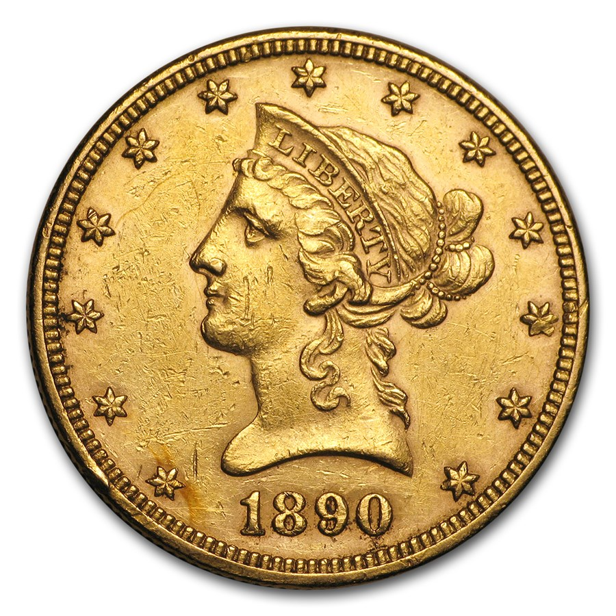 1890 $10 Liberty Gold Eagle (Cleaned)
