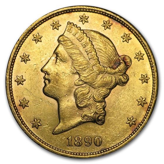 1890 $20 Liberty Gold Double Eagle AU
