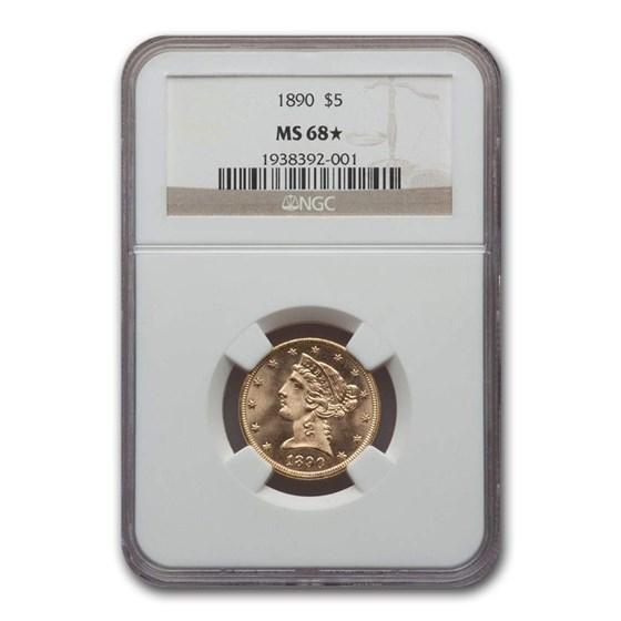 1890 $5 Liberty Gold Half Eagle MS-68* NGC
