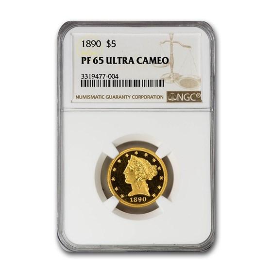 1890 $5 Liberty Gold Half Eagle PF-65 UCAM NGC