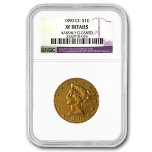 1890-CC $10 Liberty Gold Eagle XF Details NGC (Cleaned)