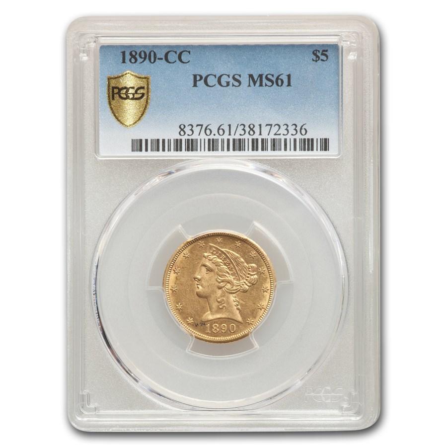 1890-CC $5 Liberty Gold Half Eagle MS-61 PCGS