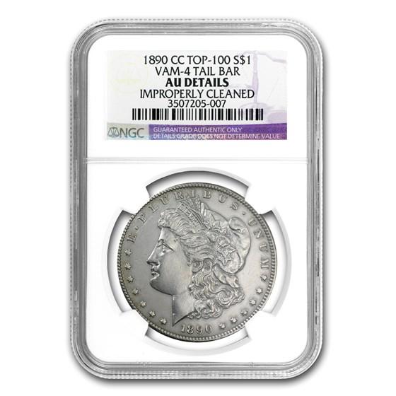 1890-CC Morgan Dollar AU Detail NGC (VAM-4, Tailbar, Cleaned)