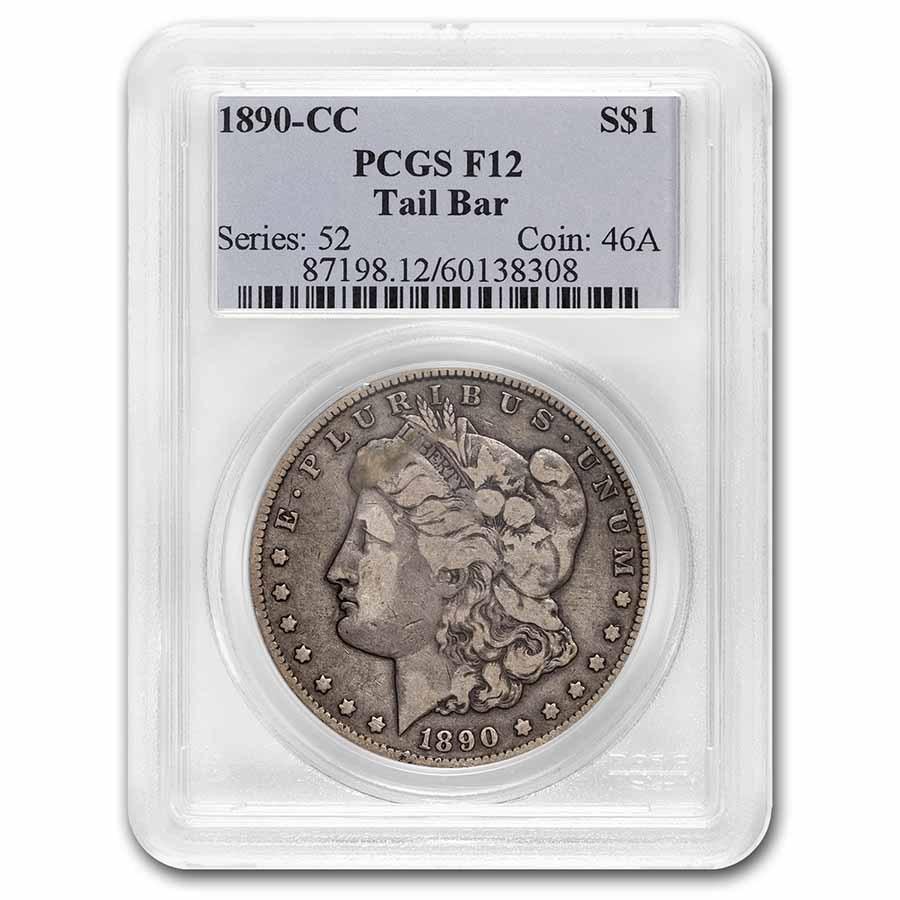 1890-CC Morgan Dollar Fine-12 PCGS (Tailbar)