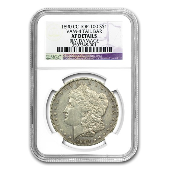 1890-CC Morgan Dollar XF Details NGC (VAM-4, Tailbar, Top-100)