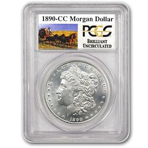 1890-CC Stage Coach Silver Dollar BU PCGS