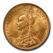 1890 Great Britain Gold Sovereign Victoria Veil MS-64 PCGS