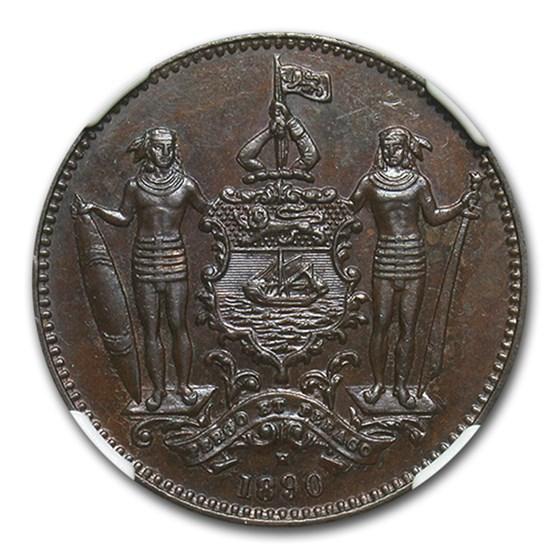 1890-H British North Borneo Cent MS-64 NGC (Brown)