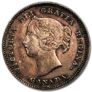 1890-H Canada 5 Cents XF