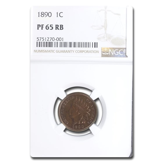 1890 Indian Head Cent PF-65 NGC (Red/Brown)