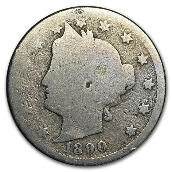1890 Liberty Head V Nickel AG