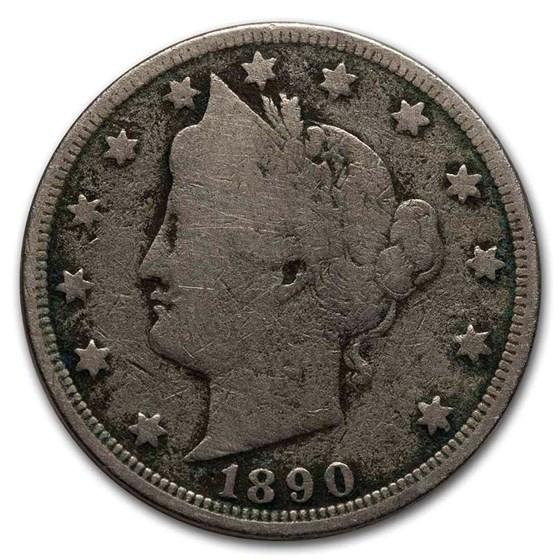 1890 Liberty Head V Nickel Good
