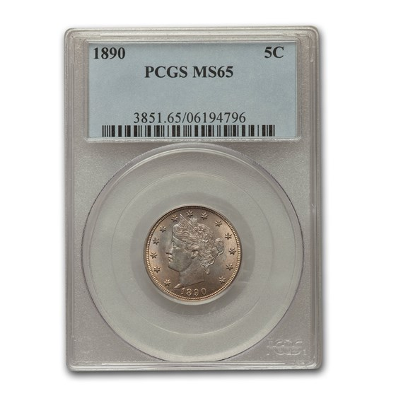 1890 Liberty Head V Nickel MS-65 PCGS