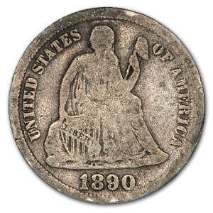 1890 Liberty Seated Dime VG