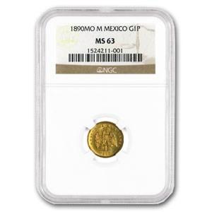 1890-Mo Mexico Gold Peso MS-63 NGC