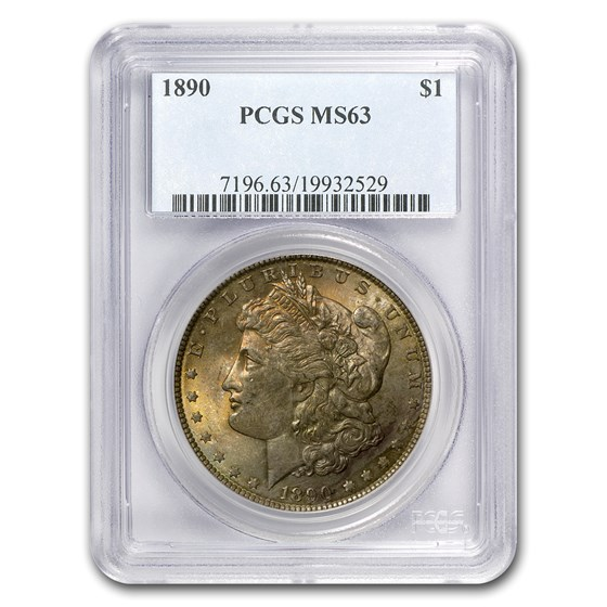 1890 Morgan Dollar MS-63 PCGS (Toned obverse)