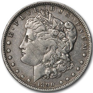 1890-O Morgan Dollar XF Detail (VAM-4B, Pitted Rev, Scratched)