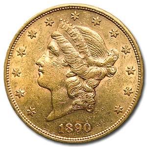 1890-S $20 Liberty Gold Double Eagle AU
