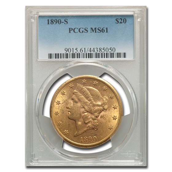 1890-S $20 Liberty Gold Double Eagle MS-61 PCGS