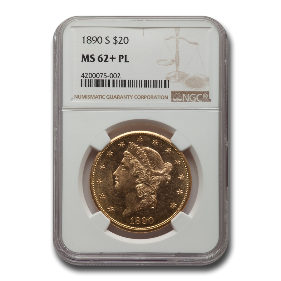 1890-S $20 Liberty Gold Double Eagle MS-62+ NGC (PL)