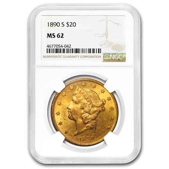 1890-S $20 Liberty Gold Double Eagle MS-62 NGC