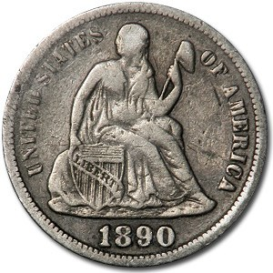 1890-S Liberty Seated Dime VF