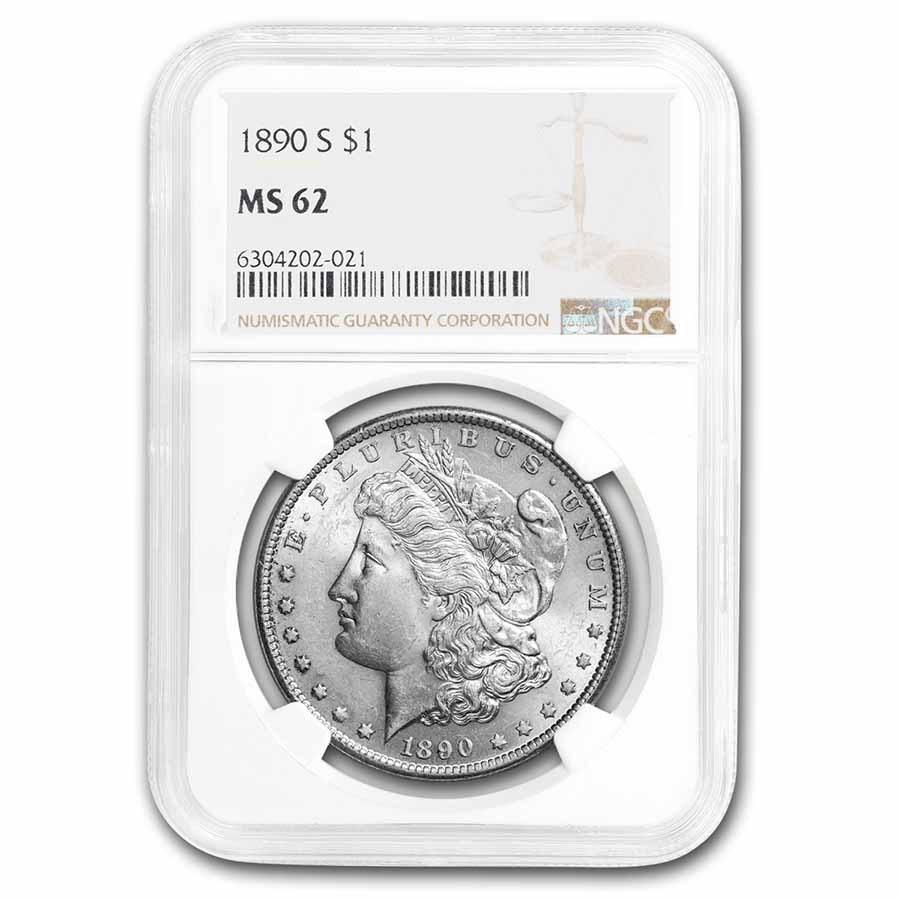1890-S Morgan Dollar MS-62 NGC