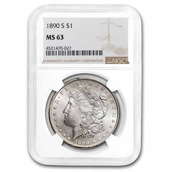 1890-S Morgan Dollar MS-63 NGC
