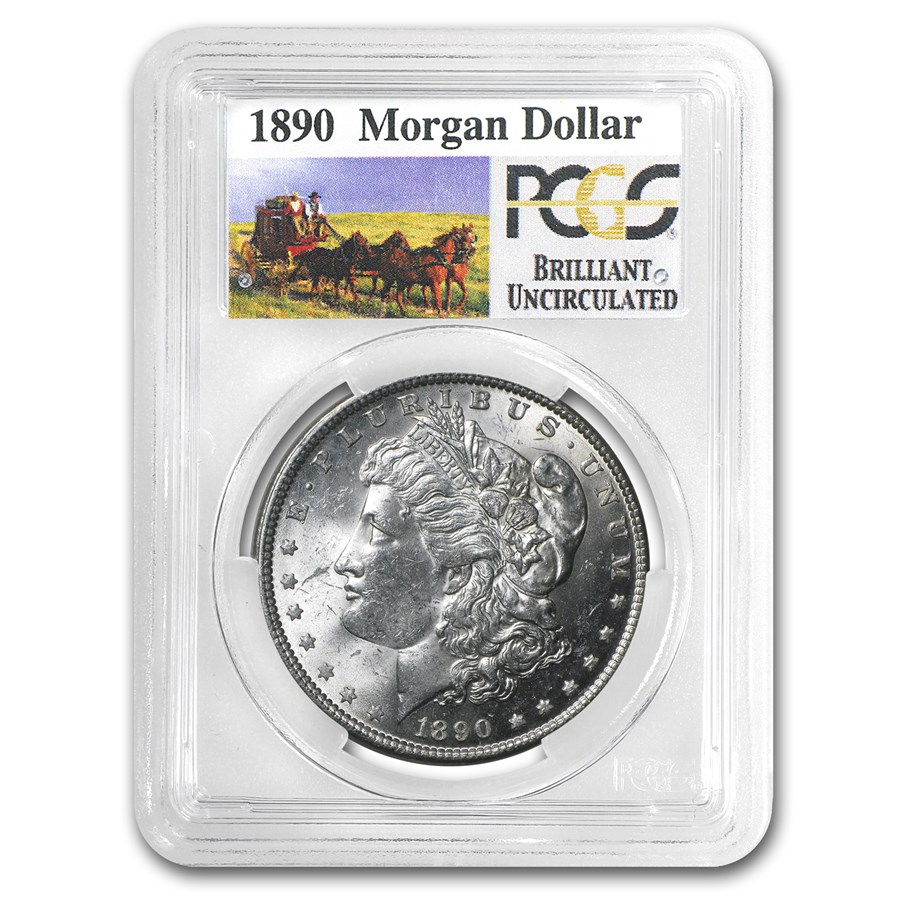 1890 Stage Coach Morgan Dollar BU PCGS