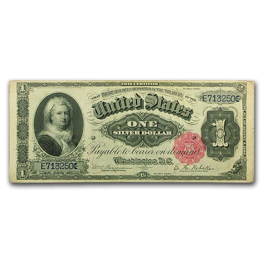 1891 $1.00 Silver Certificate Martha Washington XF