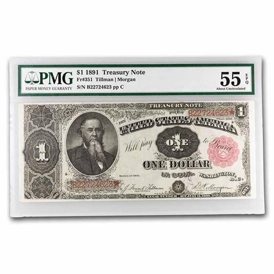 1891 $1.00 Treasury Note Stanton AU-55 EPQ PMG (Fr#351)