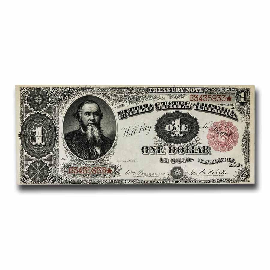 1891 $1.00 Treasury Note Stanton AU (Fr#350)
